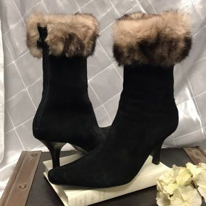Arturo Chiang suede and fur trim boots.